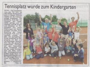 Tennisplatz wurde zum Kindergarten