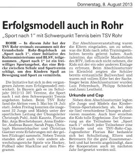 Erfolgsmodell auch in Rohr