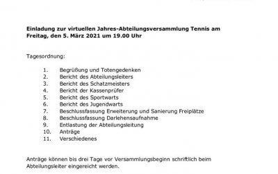 Einladung zur digitalen Jahreshauptversammlung am 5. März